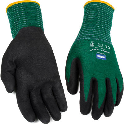 North® Flex Oil Grip™ Nitrile Coated Gloves, North Safety NF35/9L, Green, 1 Pair - Pkg Qty 144