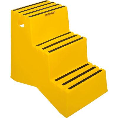"3 Step Plastic Step Stand - Yellow 22-1/2""W x 33-1/2""D x 29-1/2""H - ST327-14"