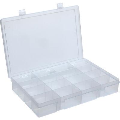 Durham Large Plastic Compartment Box LP16-CLEAR - 16 Compartments, 13-1/8x9x2-5/16 - Pkg Qty 5