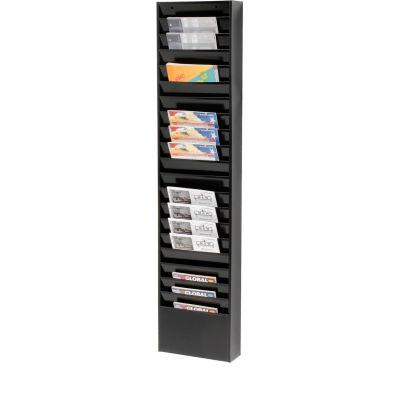 Global Industrial™ Medical Chart Hanging Wall File Holder, 20 Pockets, Black