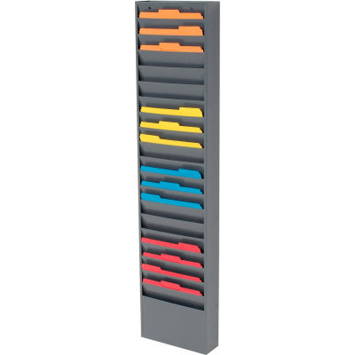 Global Industrial™ 20 Pockets - Medical Chart Hanging Wall File Holder - Gray