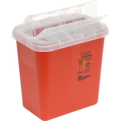 Covidien 2-Gallon Biohazard Sharps Container with Horizontal-Drop Opening Lid, Red