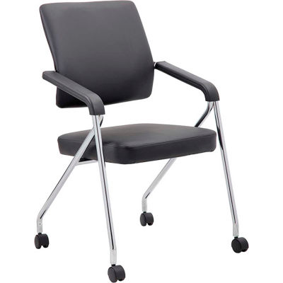 Boss Training Chair with Arms -Vinyl - Black - Set of 2
