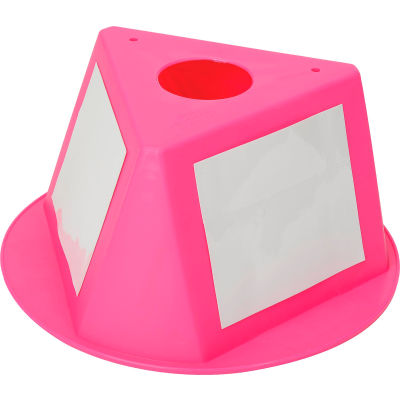 Inventory Control Cone, 3 Sided with Dry Erase Decals - Hot Pink