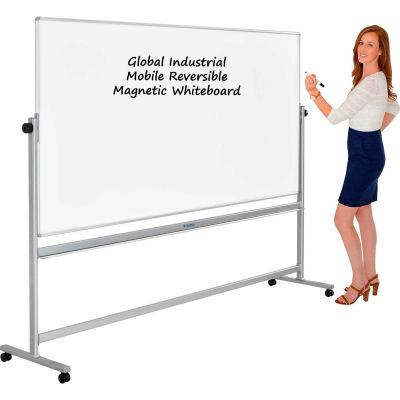 Global Industrial™ Mobile Reversible Whiteboard - 96 x 48 - Steel - Silver Frame