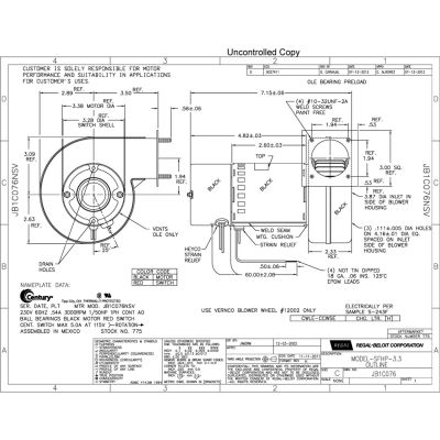 """A.O. Smith 3.3"""" Shaded Pole Draft Inducer Blower, 775 3000 RPM 230 Volts"""