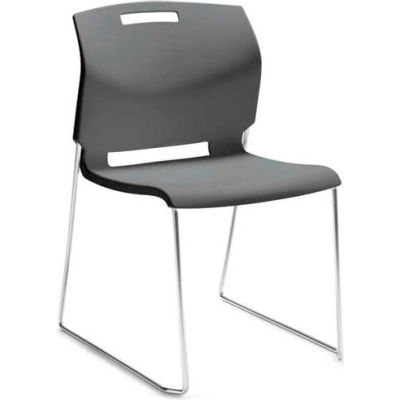 Global™ Armless Stacking Chair - Plastic - Shadow Gray - Popcorn Series