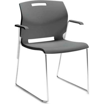 Global™ Stacking Chair with Arms - Plastic - Shadow Gray - Popcorn Series