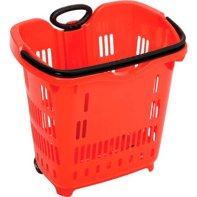 "Good L ® Plastic Roller Shopping Basket 40 Liter 18""L x 14""W x 18-1/2 to 35-1/2""H, Red - Pkg Qty 10"