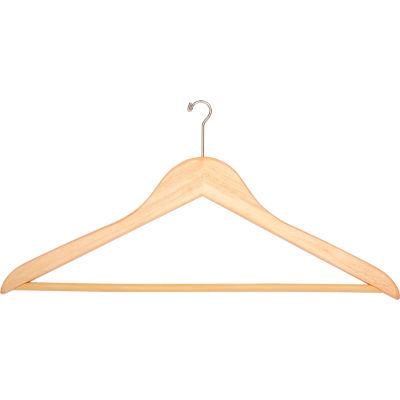 """18"""" Flat Wood Hanger for Men's Suit, Mini-Hook, 100/Case"""