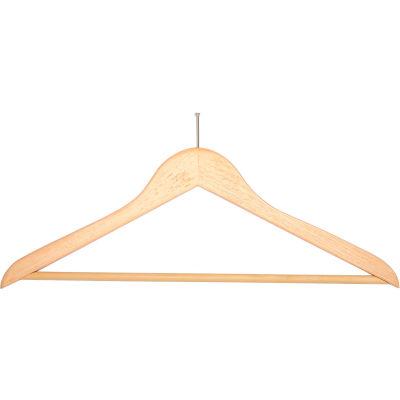 "18"" Flat Wood Hanger for Men's Suit, Balltop Hook, 100/Case"