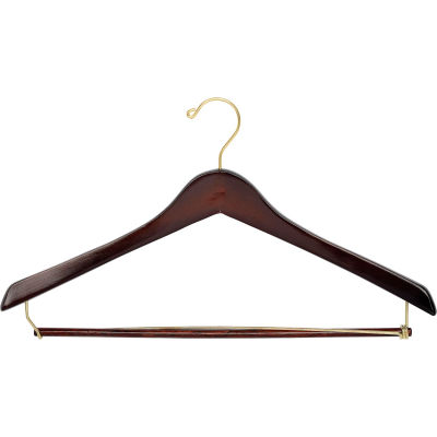 """17"""" Wood Hanger for Men's Suit, Standard Hook, Walnut w/ Brass Hardware, 100/Case"""