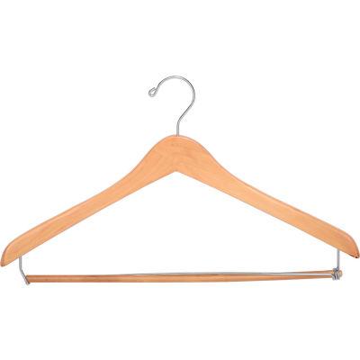 """17"""" Wood Hanger for Men's Suit, Standard Hook, Natural w/ Chrome Hardware, 100/Case"""