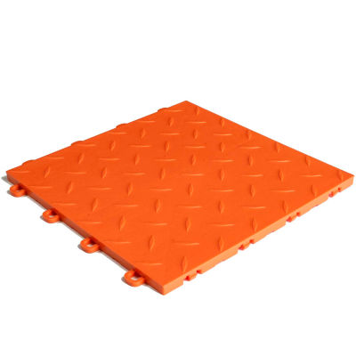 Block Tile B1US4927 Garage Flooring Interlocking Tiles, Diamond Pattern, Orange