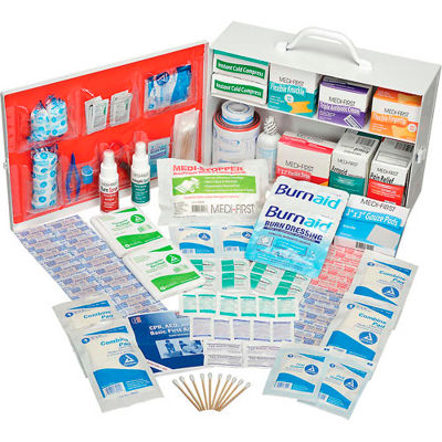 Global Industrial First Aid Kit - 2 Shelf Steel Cabinet, ANSI Compliant, 50-75 Person