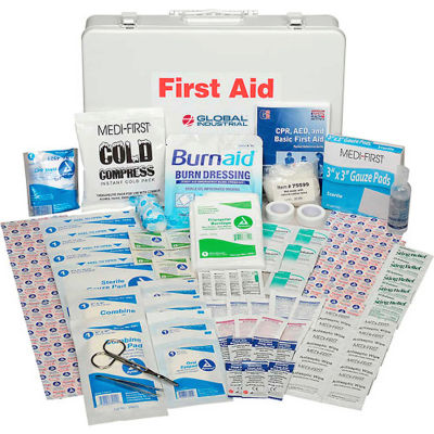 Global Industrial First Aid Kit - 50 Person, ANSI Compliant, Metal Gasketed Case