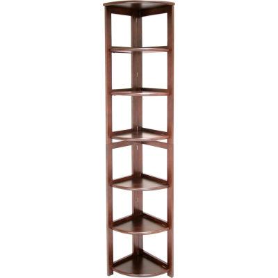 67x12 Corner Flip Flop Bookcase - Mocha Walnut
