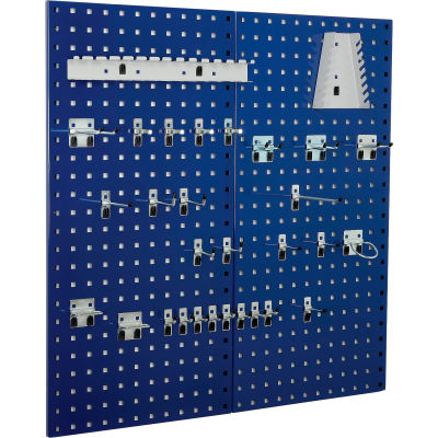 Kennedy Manufacturing-VTC Series-50004BL-4 Panel Sq. Hole Toolboard Set w/60-Pc Hooks- Classic Blue