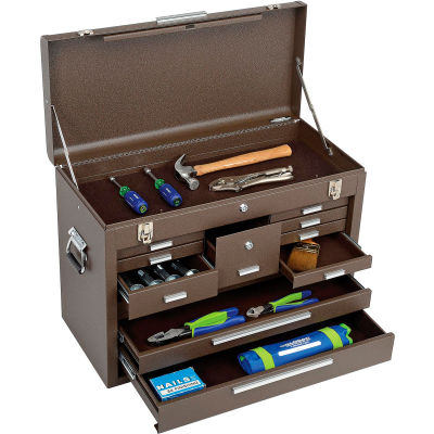 """Kennedy® Signature Series 11-Drawer Machinists Chest, 26-1/8""""W x 12""""D x 18-7/8""""H, Brown"""
