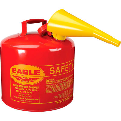 Eagle Type I Safety Can - 5 Gallon with Funnel - Red
