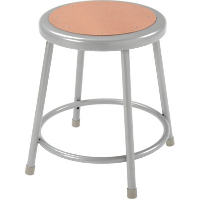 "Interion® 18""H Steel Work Stool with Hardboard Seat - Backless - Gray - Pack of 2"