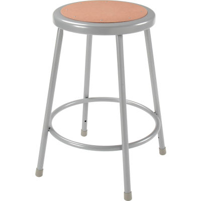 "Interion® 24""H Steel Work Stool with Hardboard Seat - Backless - Gray - Pack of 2"