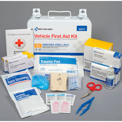 First Aid Only™ 90672 25 Person Vehicle First Aid Kit, ANSI Compliant, Class A+, Metal Case
