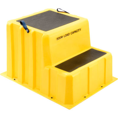 """2 Step Nestable Plastic Step Stand - Yellow 26""""W x 33""""D x 20""""H - NST-2 YEL"""