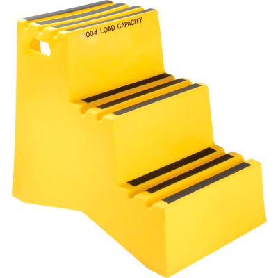 "3 Step Plastic Step Stand - Yellow 20""W x 33-1/2""D x 28-1/2""H - ST-3 YEL"