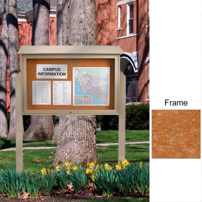 "United Visual Products 45""W x 36""H Cork Top-Hinged Single Door Message Center with Cedar Frame"