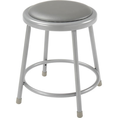 """Interion® 18""""H Steel Work Stool with Vinyl Seat - Backless - Gray - Pack of 2"""
