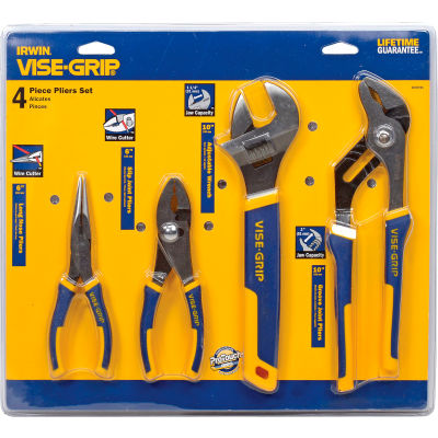 IRWIN VISE-GRIP® 2078705 4 PC Plier Set (Long Nose, Slip Joint, Tongue & Groove, Adj. Wrench)