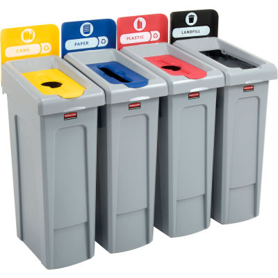 Rubbermaid® Slim Jim Recycling Station For Landfill, Paper, Plastic & Cans, (4) 23 Gallon Cans