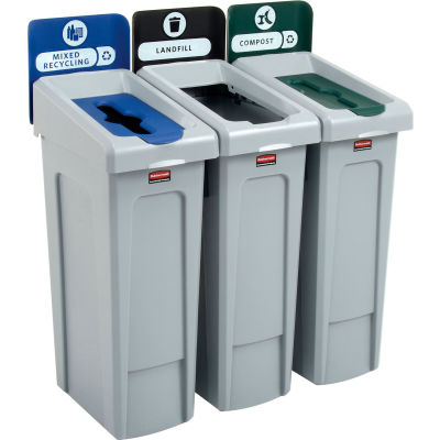 Rubbermaid® Slim Jim Recycling Station, Landfill/Mixed Recycling/Compost, (3) 23 Gal. Cap.