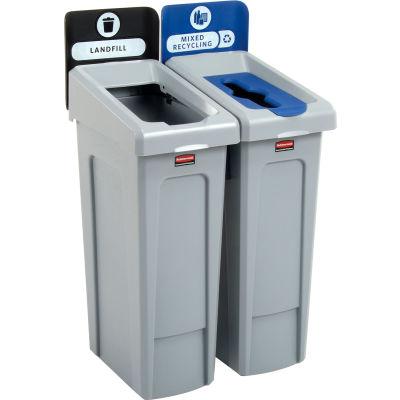 Rubbermaid Slim Jim Recycling Station, Landfill/Mixed Recycling, (2) 23 Gallon - 2007914