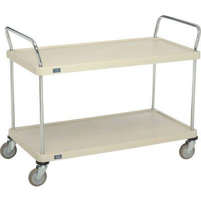 """Nexel® Utility Cart With Chrome Posts, 2 Shelf, 48""""Lx24""""W, Polyurethane Casters, Tan"""
