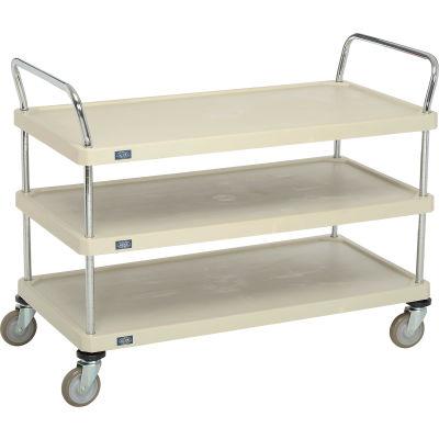 """Nexel® Utility Cart With Chrome Posts, 3 Shelf, 48""""Lx24""""W, Polyurethane Casters, Tan"""