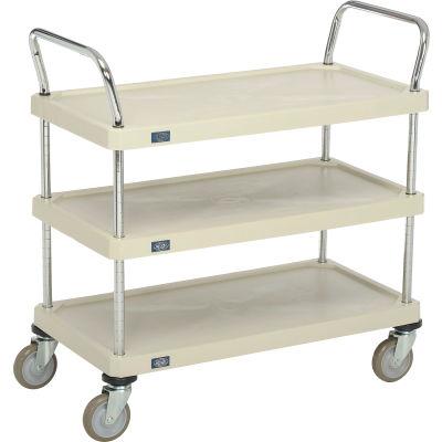 """Nexel® Utility Cart With Chrome Posts, 3 Shelf, 36""""Lx18""""W, Polyurethane Casters, Tan"""