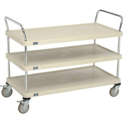 "Nexel® Utility Cart, 3 Plastic Shelves, 24""W x 48""L x 39""H Polyurethane Brake Casters"