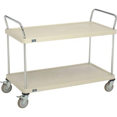 "Nexel® Utility Cart, 2 Plastic Shelves, 24""W x 48""L x 39""H Polyurethane Brake Casters"