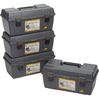 "Plano Molding 651-101 Toolbox with Tray 20-1/4""L x 10-7/8""W x 9-1/8""H Gray - Pkg Qty 4"