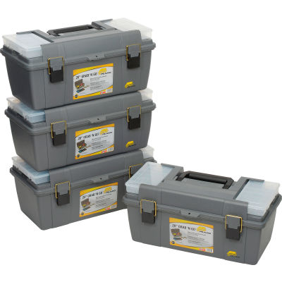 """Plano Molding 652-009 Toolbox with Tray and (2) compartment boxes 20-1/4""""L x 10-7/8""""W x 9-1/8""""H Gray - Pkg Qty 4"""