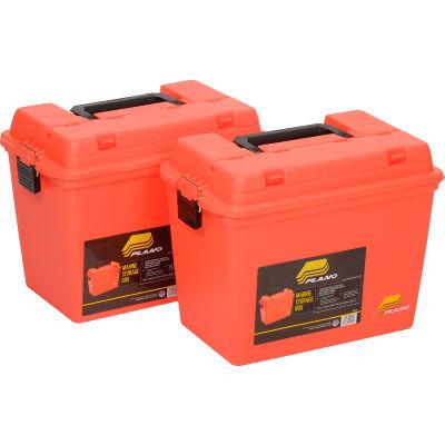 "Plano Molding 181250 Emergency Supply Box with Tray 17""L x 10-3/8""W x 13""H, Orange - Pkg Qty 2"