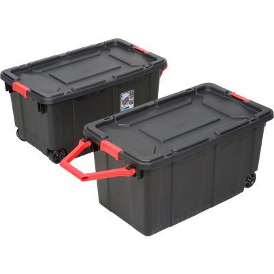 "Sterilite Wheeled Industrial Tote - Black/Racer Red 40 Gallon 36-3/4""L x 21-3/8""W x 18""H - Pkg Qty 2"