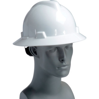 MSA V-Gard® Hard Hats, Full Brim, Fas-Trac® Suspension, White, 475369