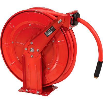 "Florida Pneumatic 6802 1/2""x50' 300 PSI Spring Retractable Low Pressure Steel Hose Reel"
