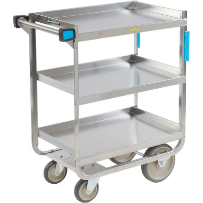 Lakeside® 722 HD Stainless Steel 3 Shelf Cart 32-5/8 x 19-3/8 x 34-1/2 700 Lb Cap