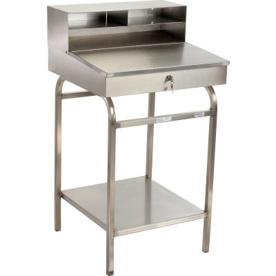 """Winholt Shop Desk with Pigeonhole Riser 24""""W x 22""""D x 45""""H Sloped Surface - Stainless Steel"""