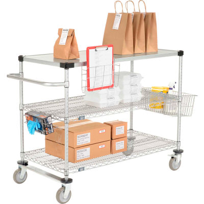 "Curbside Cart, Nexelate™, 36""L x 18""W x 40""H, 2 Wire, 1 Solid Shelf, Polyurethane Casters"
