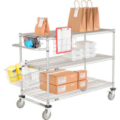 "Curbside Cart, Nexelate™, 24""L x 18""W x 40""H, 3 Wire Shelves, Polyurethane Casters"
